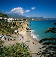 Spain, Andalusia, Costa del Sol, Nerja: view from Balcon de Europa across Playa de Calahonda | Spanien, Andalusien, Provinz Malaga, Costa del Sol, Nerja: Strand, Playa de Calahonda