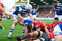 Bath Rugby players celebrate a try from team-mate Tom Dunn. Gallagher Premiership match, between Gloucester Rugby and Bath Rugby on April 13, 2019 at Kingsholm Stadium in Gloucester, England. Photo by: Patrick Khachfe / Onside Images