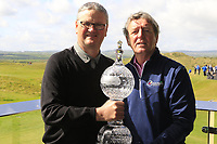 Tom Walsh Waterford Crystal with Des Smyth at the Media Day to preview the Dubai Duty Free Irish Open hosted by the Rory Foundation to be held at Portstewart Golf Club from July 6-9. 17th May 2017.<br /> Picture: Eoin Clarke | Golffile<br /> <br /> <br /> All photos usage must carry mandatory copyright credit (&copy; Golffile | Eoin Clarke)