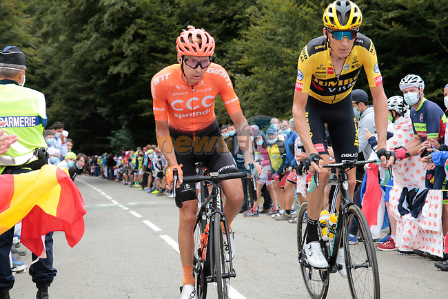 Robert Gesink (NED) Team Jumbo-Visma and Jan Hirt (CZE) CCC Team climb Col de Marie Blanque during Stage 9 of Tour de France 2020, running 153km from Pau to Laruns, France. 6th September 2020. <br /> Picture: Colin Flockton | Cyclefile<br /> All photos usage must carry mandatory copyright credit (© Cyclefile | Colin Flockton)