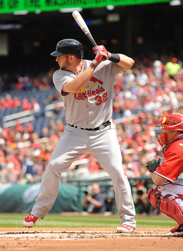St. Louis Cardinals Matt Adams (32) during a game against the Washington Nationals on April 20, 2014 at Nationals Park in Washington DC. The Nationals beat the Cardinals 3-2.