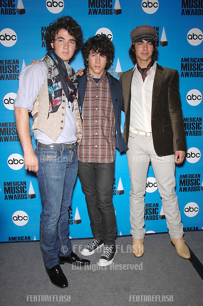The Jonas Brothers at the nominations annoucement for the 2007 American Music Awards which are to be presented at the Nokia Theatre in Los Angeles on November 18th..October 9, 2007  Los Angeles, CA.Picture: Paul Smith / Featureflash