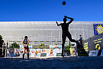 31.07.2020, Düsseldorf / Duesseldorf, Merkur Spiel-Arena<br /> Beachvolleyball, comdirect Beach Tour<br /> Top Teams<br /> Larissa Claaßen / Claassen / Nina Interwies vs. Constanze Bieneck / Julika Hoffmann <br /> <br /> Feature Beachvolleyball / Aufschlag / Service<br /> <br />   Foto © nordphoto / Kurth