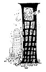 """Noel Coward whistles a tune from the top floor of an """"I"""" shaped skyscraper"""