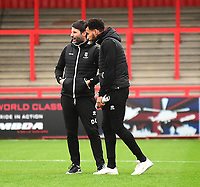 Lincoln City manager Danny Cowley, left, and Matt Green during the pre-match warm-up<br /> <br /> Photographer Andrew Vaughan/CameraSport<br /> <br /> The EFL Sky Bet League Two - Stevenage v Lincoln City - Saturday 8th December 2018 - The Lamex Stadium - Stevenage<br /> <br /> World Copyright © 2018 CameraSport. All rights reserved. 43 Linden Ave. Countesthorpe. Leicester. England. LE8 5PG - Tel: +44 (0) 116 277 4147 - admin@camerasport.com - www.camerasport.com