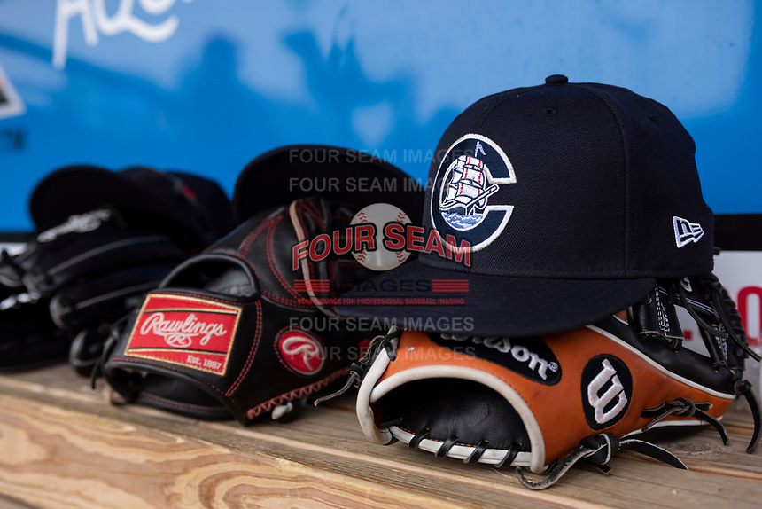 A detailed look at a Columbus Clippers hat during an International League game between the Indianapolis Indians and Columbus Clippers on April 30, 2019 at Victory Field in Indianapolis, Indiana. Columbus defeated Indianapolis 7-6. (Zachary Lucy/Four Seam Images)