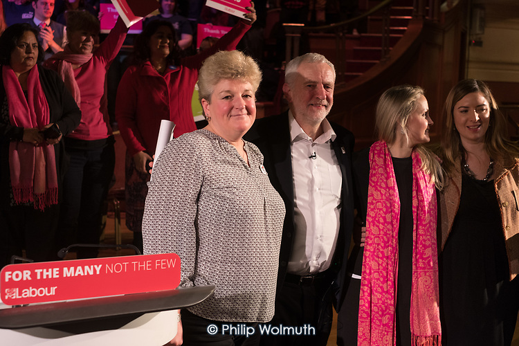 Paramedic Debby Wilkinson, Jeremy Corbyn, Dr Lauren Gavaghan, nurse Siobhan McCullough, Labour Care for the NHS rally, Central Hall Westmintser, London.