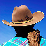 Cowboy hat with hand drawn illustration and silk scarf. Huasna, California