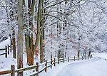 A Pastoral Scene Of Snow Covered Fences, Trees And Walking Paths At Sharon Woods In Southwestern Ohio, USA