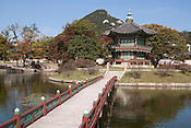 A pavilion on a small island in the middle of an artificial lake in Gyeongbok Palace.