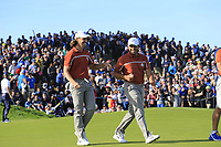 Tommy Fleetwood and Francesco Molinari (Team Europe) on the 12th green during Saturday's Foursomes Matches at the 2018 Ryder Cup 2018, Le Golf National, Ile-de-France, France. 29/09/2018.<br /> Picture Eoin Clarke / Golffile.ie<br /> <br /> All photo usage must carry mandatory copyright credit (&copy; Golffile | Eoin Clarke)