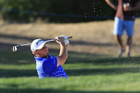 Jamie McLeary (SCO) chips from a bunker at the 7th green during Thursday's Round 1 of the 2016 Portugal Masters held at the Oceanico Victoria Golf Course, Vilamoura, Algarve, Portugal. 19th October 2016.<br /> Picture: Eoin Clarke | Golffile<br /> <br /> <br /> All photos usage must carry mandatory copyright credit (&copy; Golffile | Eoin Clarke)