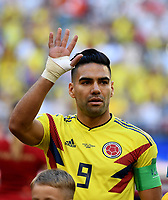 SAMARA - RUSIA, 28-06-2018: Radamel FALCAO GARCIA jugador de Colombia durante los actos protocolarios previo al partido de la primera fase, Grupo H, entre Senegal y Colombia por la Copa Mundial de la FIFA Rusia 2018 jugado en el estadio Samara Arena en Samara, Rusia. / Radamel FALCAO GARCIA player of Colombia during the formal events prior the match between Senegal and Colombia of the first phase, Group H, for the FIFA World Cup Russia 2018 played at Samara Arena stadium in Samara, Russia. Photo: VizzorImage / Julian Medina / Cont