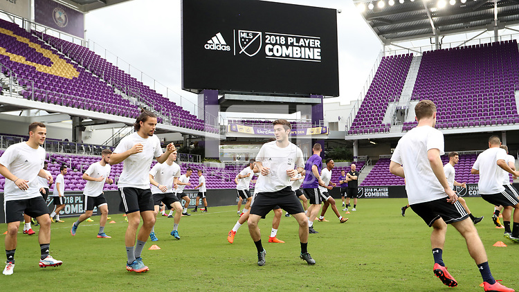 Orlando, Florida - Friday January 12, 2018: Team X players warm up. The 2018 adidas MLS Player Combine Skills Testing was held Orlando City Stadium.
