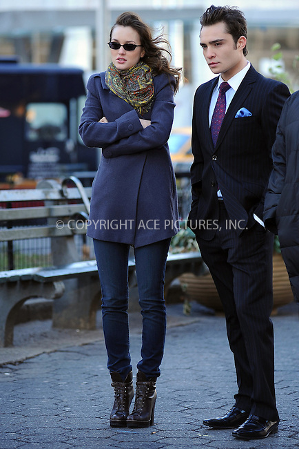 WWW.ACEPIXS.COM . . . . . ....December 1 2009, New York City....Actors Ed Westwick and Leighton Meester on the set of the TV show 'Gossip Girl' in Midtown Manhattan on December 1 2009 in New York City....Please byline: KRISTIN CALLAHAN - ACEPIXS.COM.. . . . . . ..Ace Pictures, Inc:  ..(212) 243-8787 or (646) 679 0430..e-mail: picturedesk@acepixs.com..web: http://www.acepixs.com