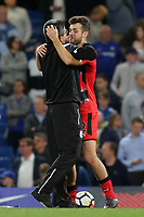 Huddersfield Town Manager, David Wagner and captain, Tommy Smith celebrate at the final whistle during Chelsea vs Huddersfield Town, Premier League Football at Stamford Bridge on 9th May 2018