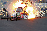 May 1, 2016; Baytown, TX, USA; NHRA top fuel driver Terry McMillen blows a tire after exploding an engine on fire during the Spring Nationals at Royal Purple Raceway. Mandatory Credit: Mark J. Rebilas-USA TODAY Sports