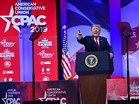 National Harbor, MD - March 2, 2019:  U.S. President Donald Trump addresses the annual Conservative Political Action Conference (CPAC) held at the Gaylord National Resort at National Harbor, MD March 2, 2019.  (Photo by Don Baxter/Media Images International)