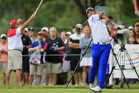 Hideki Matsuyama (JPN) tees off the 18th tee during Sunday's Final Round of the WGC Bridgestone Invitational 2017 held at Firestone Country Club, Akron, USA. 6th August 2017.<br /> Picture: Eoin Clarke | Golffile<br /> <br /> <br /> All photos usage must carry mandatory copyright credit (&copy; Golffile | Eoin Clarke)