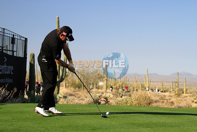 Graeme McDowell tees off on the 1st tee during Day 2 of the Accenture Match Play Championship from The Ritz-Carlton Golf Club, Dove Mountain. (Photo Eoin Clarke/Golffile 2011)