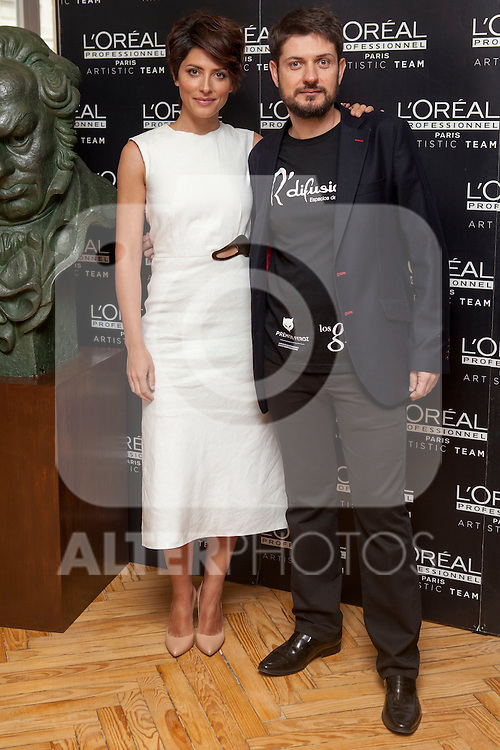 Spanish actress Barbara Lennie and Iban Barreda poses for photographers during a presentation for a sponsor of the Goya Awards with hairdressers and Makeup artist at Academia de Cinema in Madrid January 14, 2015, Spain. (ALTERPHOTOS / Nacho Lopez)