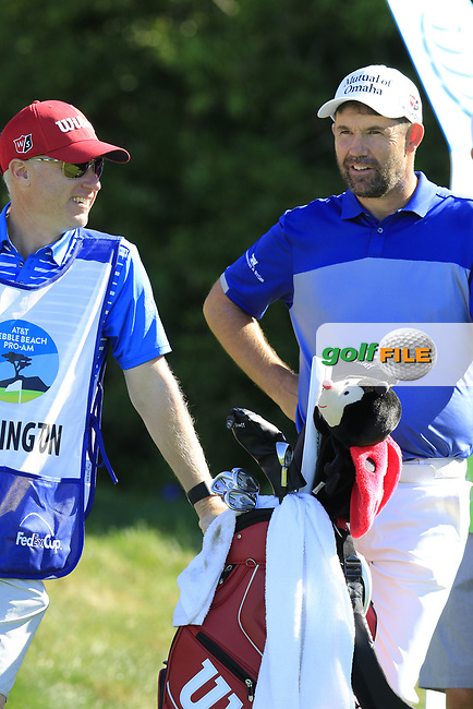 Padraig Harrington (IRL) and caddy Ronan Flood wait on the 12th tee at Pebble Beach course during Friday's Round 2 of the 2018 AT&amp;T Pebble Beach Pro-Am, held over 3 courses Pebble Beach, Spyglass Hill and Monterey, California, USA. 9th February 2018.<br /> Picture: Eoin Clarke | Golffile<br /> <br /> <br /> All photos usage must carry mandatory copyright credit (&copy; Golffile | Eoin Clarke)