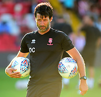 Lincoln City manager Danny Cowley during the pre-match warm-up<br /> <br /> Photographer Andrew Vaughan/CameraSport<br /> <br /> Football Pre-Season Friendly - Lincoln City v Norwich City - Tuesday 10th July 2018 - Sincil Bank - Lincoln<br /> <br /> World Copyright &copy; 2018 CameraSport. All rights reserved. 43 Linden Ave. Countesthorpe. Leicester. England. LE8 5PG - Tel: +44 (0) 116 277 4147 - admin@camerasport.com - www.camerasport.com