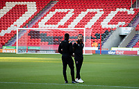 Blackpool's Sean Scannell chats with Sullay Kaikai<br /> <br /> Photographer Alex Dodd/CameraSport<br /> <br /> The EFL Sky Bet League One - Doncaster Rovers v Blackpool - Tuesday September 17th 2019 - Keepmoat Stadium - Doncaster<br /> <br /> World Copyright © 2019 CameraSport. All rights reserved. 43 Linden Ave. Countesthorpe. Leicester. England. LE8 5PG - Tel: +44 (0) 116 277 4147 - admin@camerasport.com - www.camerasport.com