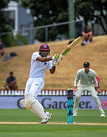 West Indies' Sunil Ambris hits a six during day four of the international cricket test between the NZ Black Caps and the West Indies at the Hawkins Basin Reserve in Wellington, New Zealand on Monday, 4 December 2017. Photo: Dave Lintott / lintottphoto.co.nz