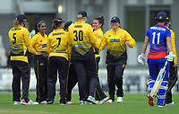 Thamsyn Newton celebrates a wicket during the women's Hallyburton Johnstone Shield cricket match between the Wellington Blaze and Auckland Hearts at Basin Reserve in Wellington, New Zealand on Saturday, 16 November 2019. Photo: Dave Lintott / lintottphoto.co.nz