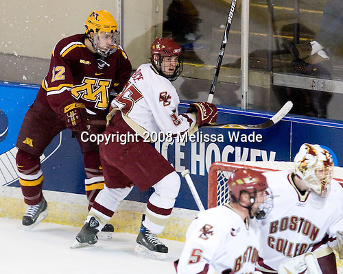Tony Lucia (Minnesota - 12), Matt Price (BC - 25) - The Boston College Eagles defeated the University of Minnesota Golden Gophers 5-2 on Saturday, March 29, 2008, in the NCAA Northeast Regional Semi-Final at the DCU Center in Worcester, Massachusetts.