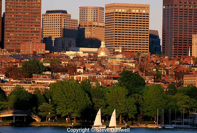 Beacon Hill, Boston, MA with sailboats