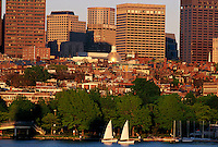 Beacon Hill, Boston, MA with sailboats