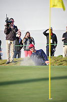 Kevin Chappell (USA) nearly sinks one from the sand on 16 during round 3 Four-Ball of the 2017 President's Cup, Liberty National Golf Club, Jersey City, New Jersey, USA. 9/30/2017.<br /> Picture: Golffile | Ken Murray<br /> <br /> All photo usage must carry mandatory copyright credit (&copy; Golffile | Ken Murray)