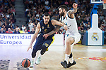 Real Madrid Jeffery Taylor and Fenerbahce Dogus Kostas Sloukas during Turkish Airlines Euroleague match between Real Madrid and Fenerbahce Dogus at Wizink Center in Madrid , Spain. March 02, 2018. (ALTERPHOTOS/Borja B.Hojas)