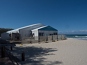 16th March 2018, Surfers Paradise, Gold Coast, Queensland, Australia;  Surfers Paradise prepare for the Commonwealth Games 2018; Construction workers preparing the admininistration and media centre in Paula Stafford Park