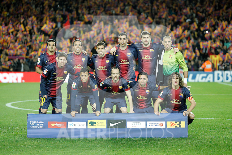 FC Barcelona's team photo with Pedro Rodriguez, Adriano Correia, Jordi Alba, Sergio Busquets, Gerard Pique, Victor Valdes, Leo Messi, Alexis Sanchez, Andres Iniesta, Xavi Hernandez and Carles Puyol during La Liga match.December 16,2012. (ALTERPHOTOS/Acero)