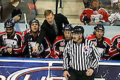 January 9th, 2009:  Head coach Ross Yates of the Syracuse Crunch argues a call with the official during the third period vs. the Rochester Amerks at Blue Cross Arena in Rochester, NY.  Rochester defeated Syracuse 3-1 for their third straight win.  Photo Copyright Mike Janes Photography 2009