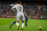 Real Madrid´s Cristiano Ronaldo and Deportivo de la Coruna's Laureano Sanabria Ruiz during 2014-15 La Liga match between Real Madrid and Deportivo de la Coruna at Santiago Bernabeu stadium in Madrid, Spain. February 14, 2015. (ALTERPHOTOS/Luis Fernandez)