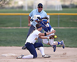 Wildcats' Melanie Mecham jumps past the tag of College of Southern Nevada's Dacia Sykes at Edmonds Sports Complex Carson City, Nev., on Saturday, May 2, 2015.<br /> Photo by Cathleen Allison