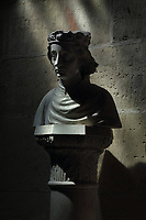 Bust of Charles VII, 1403-61, king of France 1422-61, marble, made in 1463, on loan from the Musee du Louvre, Paris, in the Basilique Saint-Denis, Paris, France. The basilica is a large medieval 12th century Gothic abbey church and burial site of French kings from 10th - 18th centuries. Picture by Manuel Cohen