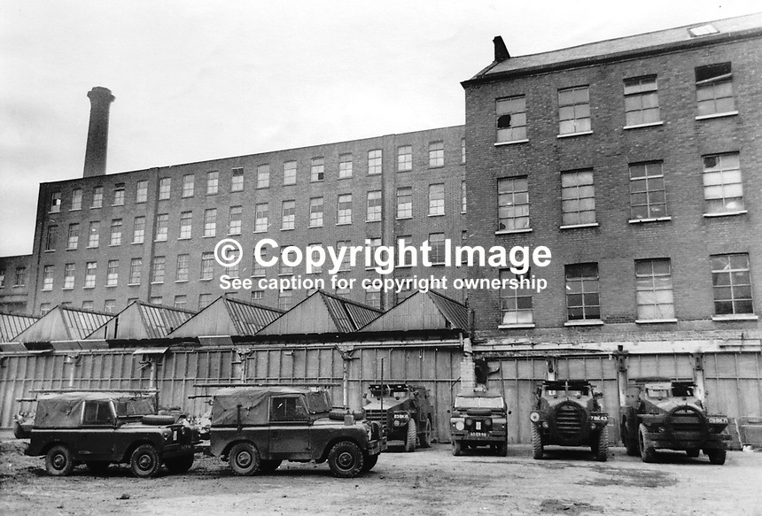 Albert Street Mill, Belfast, N Ireland, where 3 Battalion, Light Infantry, British Army regiment, were billeted during their tour of duty in the Province. 197404223456<br /> <br /> Copyright Image from Victor Patterson, 54 Dorchester Park, Belfast, UK, BT9 6RJ<br /> <br /> Tel: +44 28 9066 1296<br /> Mob: +44 7802 353836<br /> Voicemail +44 20 8816 7153<br /> Email: victorpatterson@me.com<br /> <br /> <br /> IMPORTANT: If you wish to use this image or any other of my images please go to www.victorpatterson.com and click on the Terms &amp; Conditions. Then contact me by email or phone with the reference number(s) of the image(s) concerned.