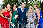 Derinda Hallissey, Emer Doyle, Aaron Buckley, Jess Mayer and Lorraine Hallissey, pictured at Pobalscoil Inbhear Scéine, Kenmare Debs held at the Brandon Hotel, Tralee, on Friday night last.
