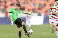 Houston, TX - Friday December 11, 2016: Wake Forest Demon Deacons Goalkeeper, Andrew Cases Mundet clears the ball against the Stanford Cardinal at the NCAA Men's Soccer Finals at BBVA Compass Stadium in Houston Texas.