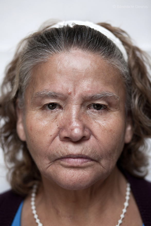Portrait of Margarita, a resident of Casa Xochiquetzal, at the shelter in Mexico City on Septemer 14, 2010. Casa Xochiquetzal is a shelter for elderly sex workers in Mexico City. It gives the women refuge, food, health services, a space to learn about their human rights and courses to help them rediscover their self-confidence and deal with traumatic aspects of their lives. Casa Xochiquetzal provides a space to age with dignity for a group of vulnerable women who are often invisible to society at large. It is the only such shelter existing in Latin America. Photo by Bénédicte Desrus