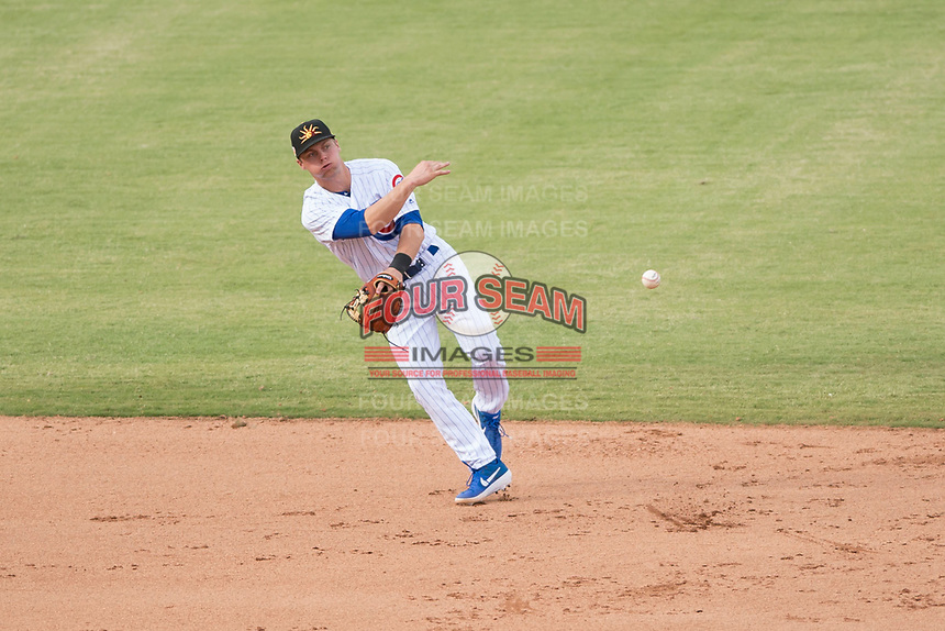 Mesa Solar Sox shortstop Nico Hoerner (17), of the Chicago Cubs organization, throws to second base during an Arizona Fall League game against the Peoria Javelinas at Sloan Park on October 11, 2018 in Mesa, Arizona. Mesa defeated Peoria 10-9. (Zachary Lucy/Four Seam Images)