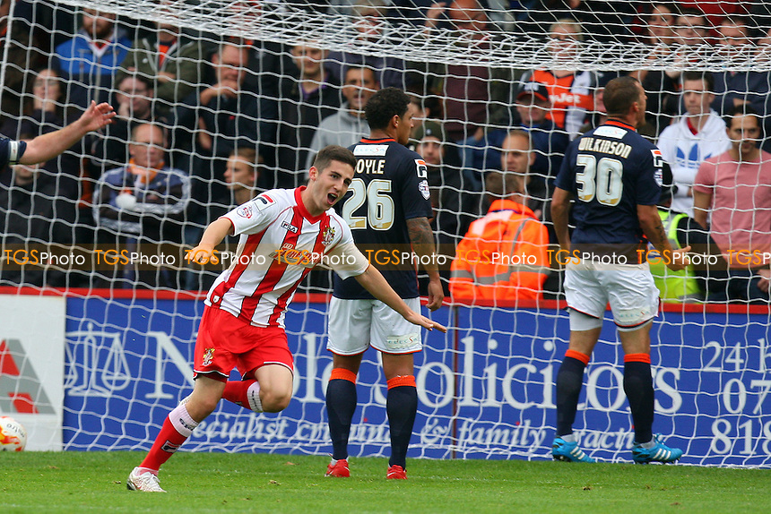 Tom Pett of Stevenage celebrates scoring the opening Stevenage goal - Stevenage vs Luton Town - Sky Bet League Two action at the Lamex Stadium on 04/10/2014 - MANDATORY CREDIT: Dave Simpson/TGSPHOTO - Self billing applies where appropriate - 0845 094 6026 - contact@tgsphoto.co.uk - NO UNPAID USE