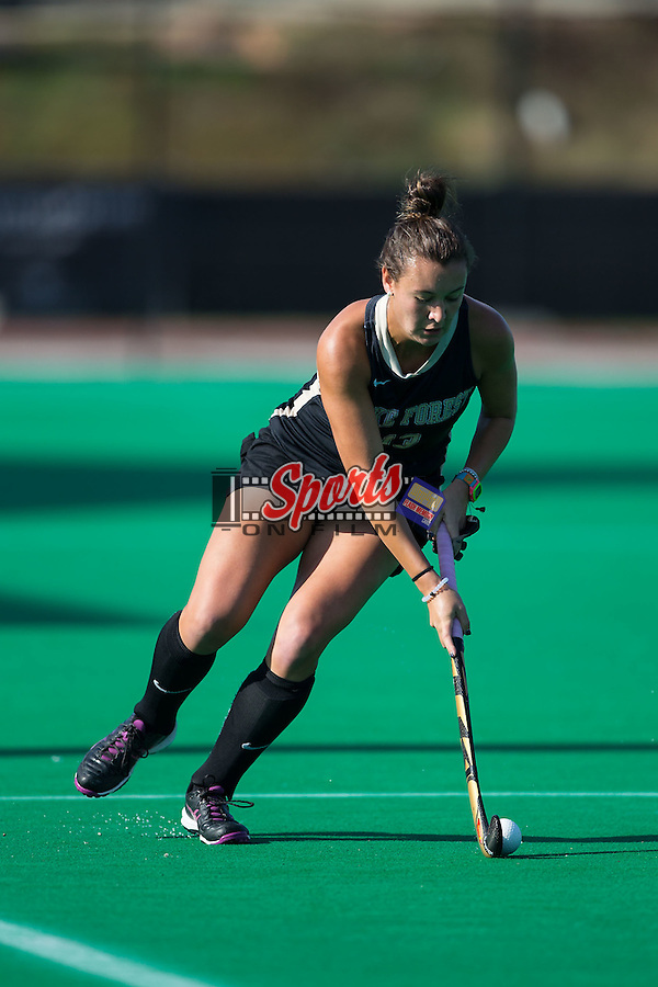 Karlee Spirit (13) of the Wake Forest Demon Deacons controls the ball during first half action against the North Carolina Tar Heels at Kentner Stadium on October 23, 2015 in Winston-Salem, North Carolina.  The Demon Deacons defeated the Tar Heels 3-2.  (Brian Westerholt/Sports On Film)