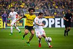 11.05.2019, Signal Iduna Park, Dortmund, GER, 1.FBL, Borussia Dortmund vs Fortuna Düsseldorf, DFL REGULATIONS PROHIBIT ANY USE OF PHOTOGRAPHS AS IMAGE SEQUENCES AND/OR QUASI-VIDEO<br /> <br /> im Bild | picture shows:<br /> Markus Suttner (Fortuna #14) gegen Axel Witsel (Borussia Dortmund #28), <br /> <br /> Foto © nordphoto / Rauch