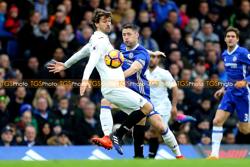 Gary Cahill of Chelsea and Fernando Llorente of Swansea City during Chelsea vs Swansea City, Premier League Football at Stamford Bridge on 25th February 2017